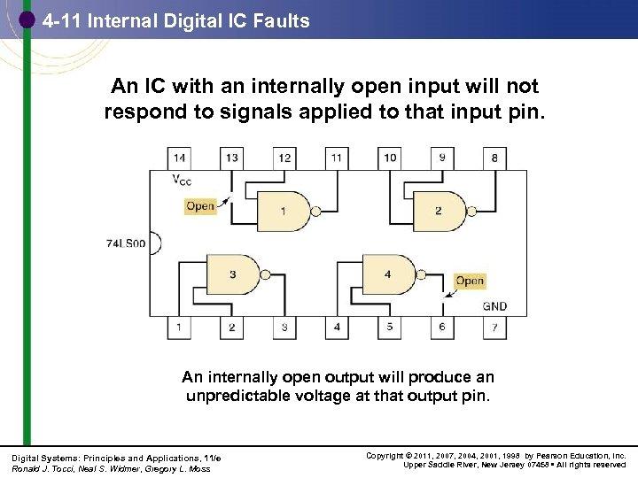 4 -11 Internal Digital IC Faults An IC with an internally open input will