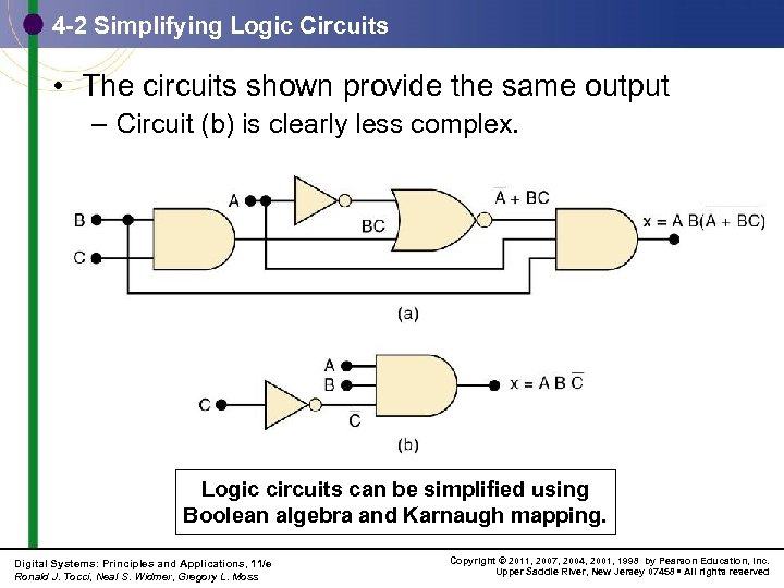 4 -2 Simplifying Logic Circuits • The circuits shown provide the same output –