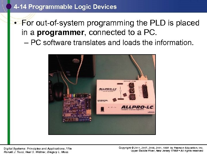 4 -14 Programmable Logic Devices • For out-of-system programming the PLD is placed in