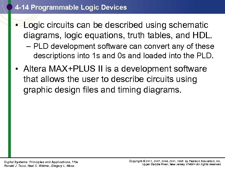 4 -14 Programmable Logic Devices • Logic circuits can be described using schematic diagrams,