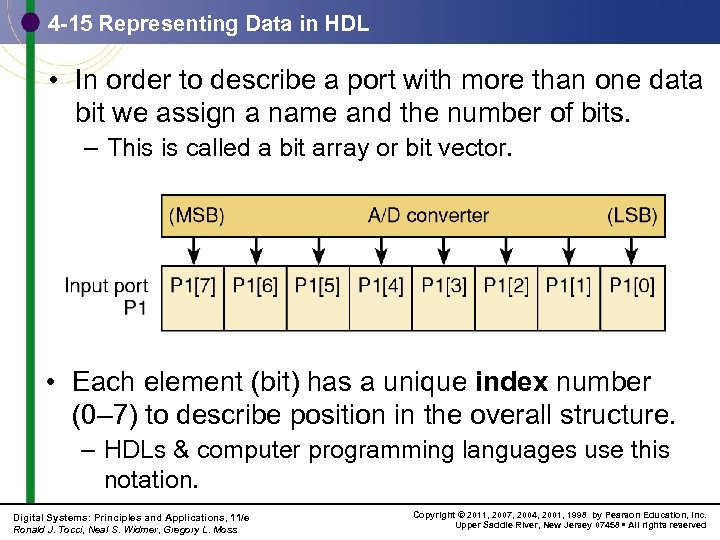 4 -15 Representing Data in HDL • In order to describe a port with