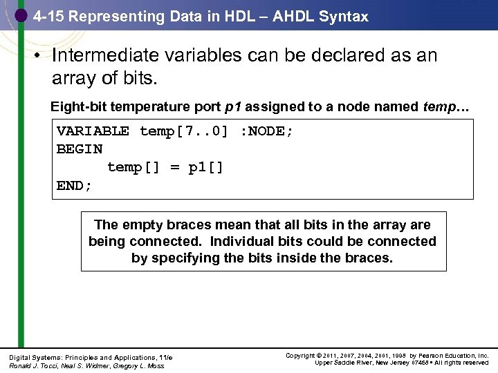 4 -15 Representing Data in HDL – AHDL Syntax • Intermediate variables can be