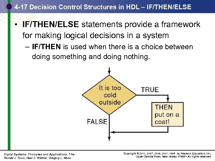 4 -17 Decision Control Structures in HDL – IF/THEN/ELSE • IF/THEN/ELSE statements provide a