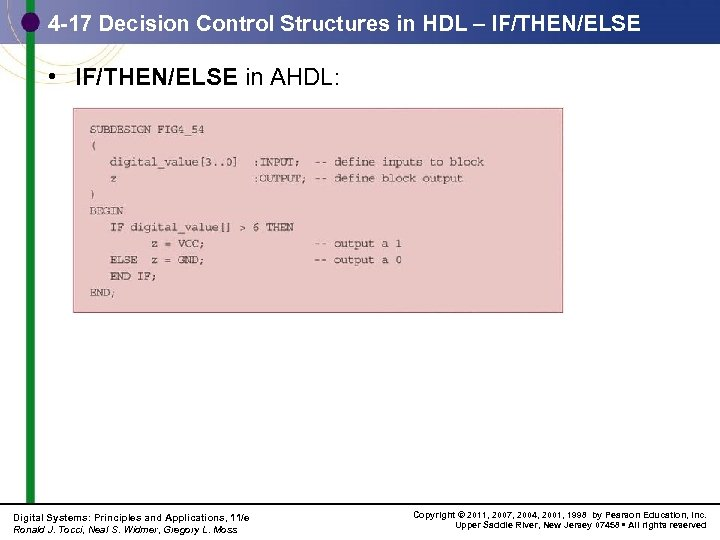 4 -17 Decision Control Structures in HDL – IF/THEN/ELSE • IF/THEN/ELSE in AHDL: Digital