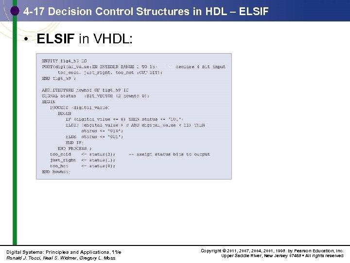 4 -17 Decision Control Structures in HDL – ELSIF • ELSIF in VHDL: Digital