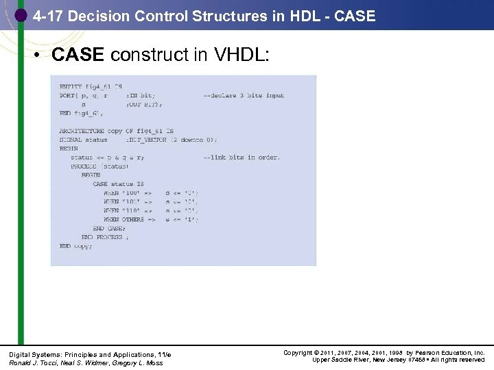 4 -17 Decision Control Structures in HDL - CASE • CASE construct in VHDL: