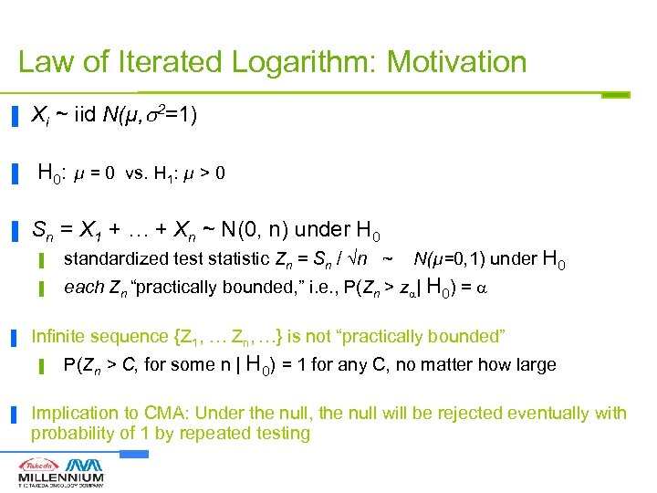 Law of Iterated Logarithm: Motivation ▐ ▐ ▐ Xi ~ iid N(µ, 2=1) H