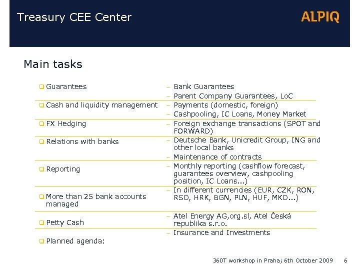 Treasury CEE Center Main tasks q Guarantees q FX Hedging – – – q