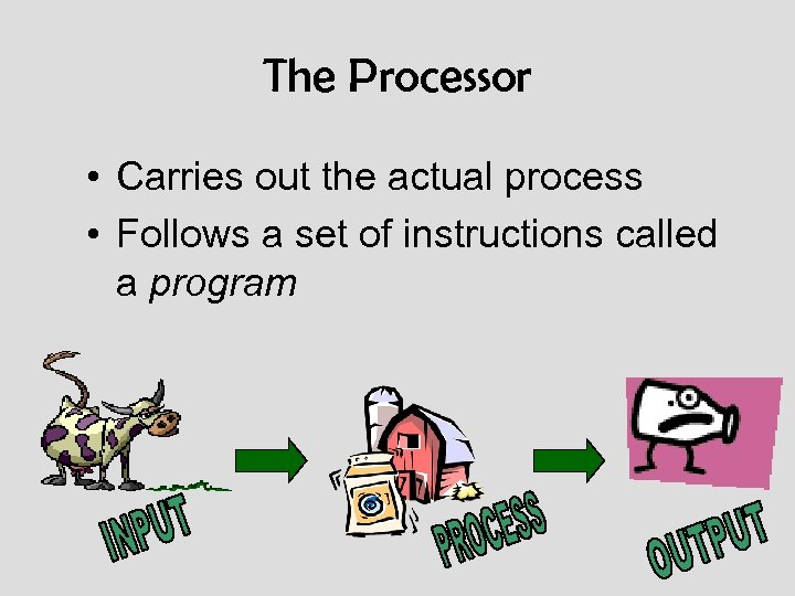 The Processor • Carries out the actual process • Follows a set of instructions
