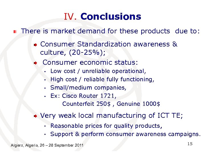 IV. Conclusions There is market demand for these products due to: Consumer Standardization awareness