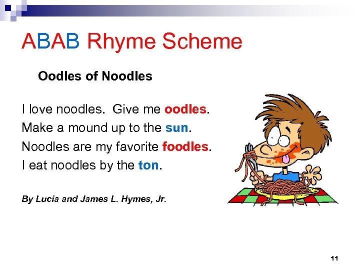 ABAB Rhyme Scheme Oodles of Noodles I love noodles. Give me oodles. Make a
