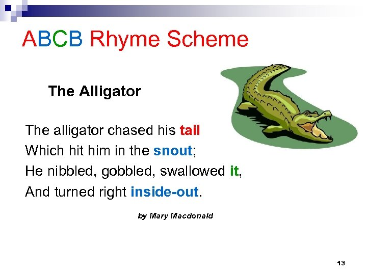 ABCB Rhyme Scheme The Alligator The alligator chased his tail Which hit him in