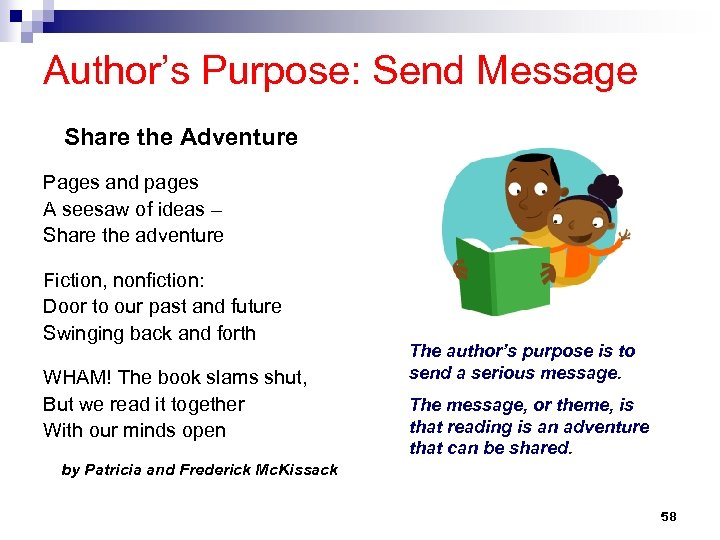 Author's Purpose: Send Message Share the Adventure Pages and pages A seesaw of ideas