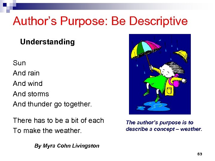 Author's Purpose: Be Descriptive Understanding Sun And rain And wind And storms And thunder