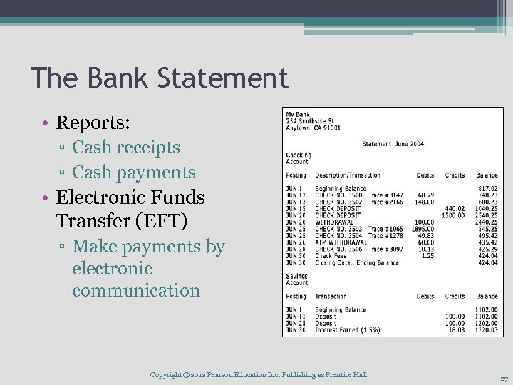 The Bank Statement • Reports: ▫ Cash receipts ▫ Cash payments • Electronic Funds