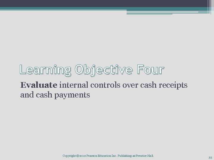 Learning Objective Four Evaluate internal controls over cash receipts and cash payments Copyright ©