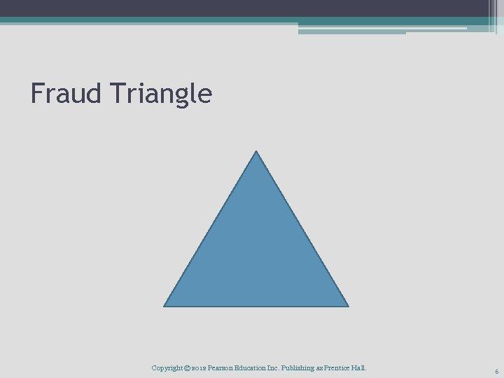 Fraud Triangle Copyright © 2012 Pearson Education Inc. Publishing as Prentice Hall. 6