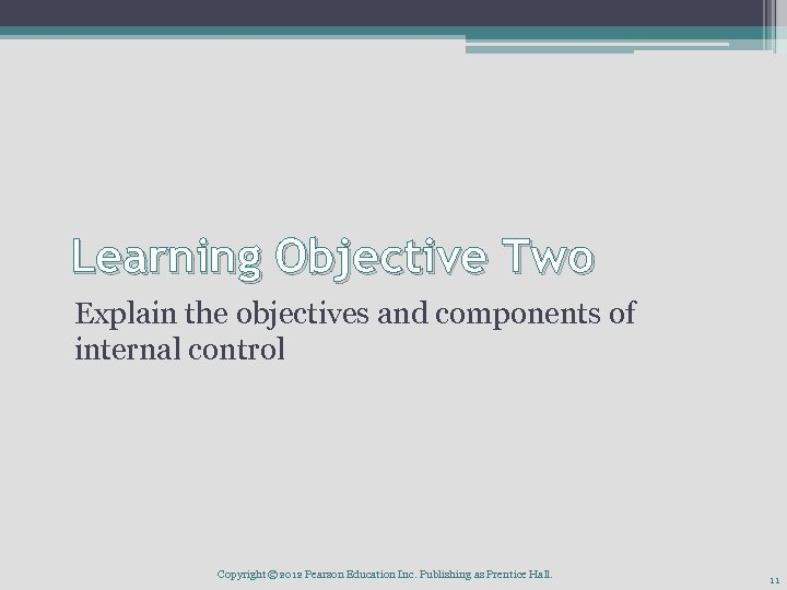 Learning Objective Two Explain the objectives and components of internal control Copyright © 2012