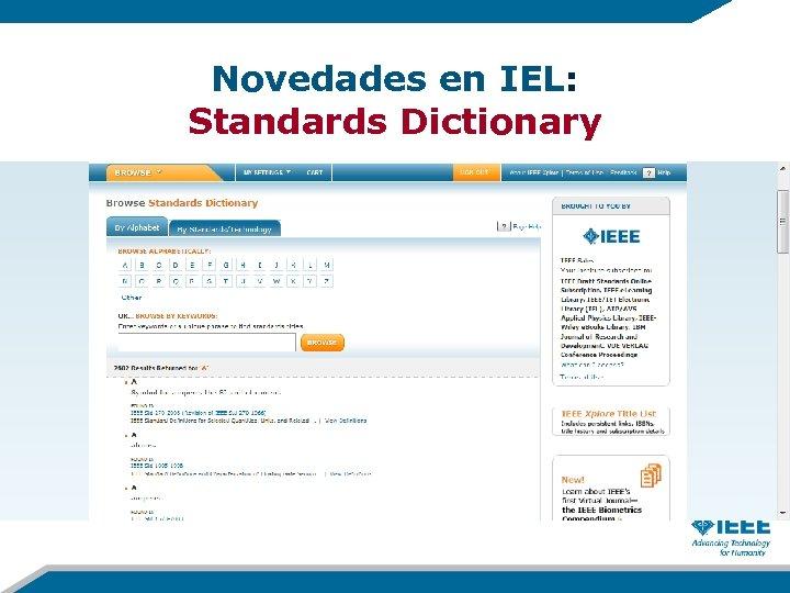 Novedades en IEL: Standards Dictionary