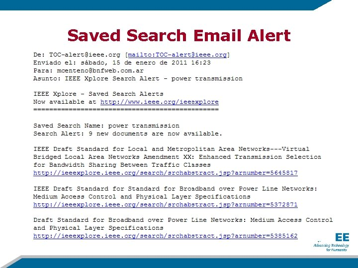 Saved Search Email Alert