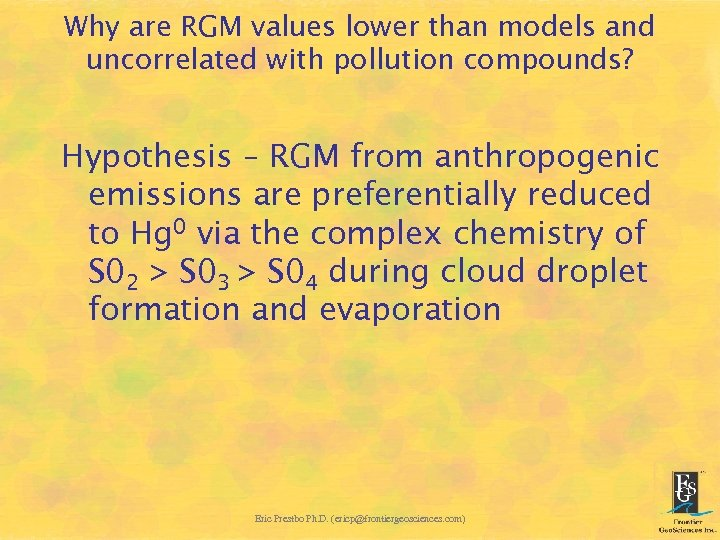 Why are RGM values lower than models and uncorrelated with pollution compounds? Hypothesis –