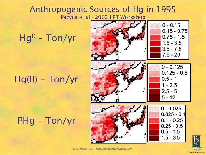 Anthropogenic Sources of Hg in 1995 Pacyna et al. - 2003 LRT Workshop Hg
