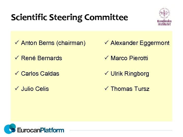 Scientific Steering Committee Anton Berns (chairman) Alexander Eggermont René Bernards Marco Pierotti Carlos Caldas