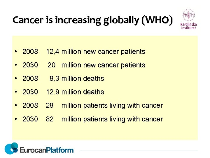 Cancer is increasing globally (WHO) • 2008 12, 4 million new cancer patients •