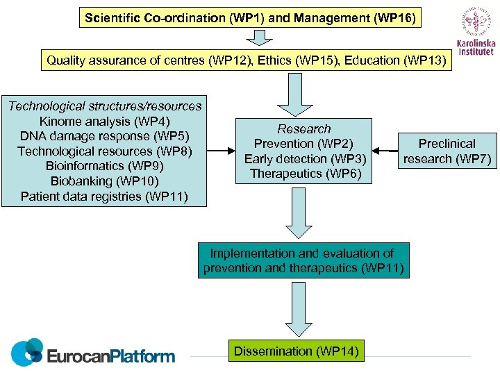 Scientific Co-ordination (WP 1) and Management (WP 16) Quality assurance of centres (WP 12),