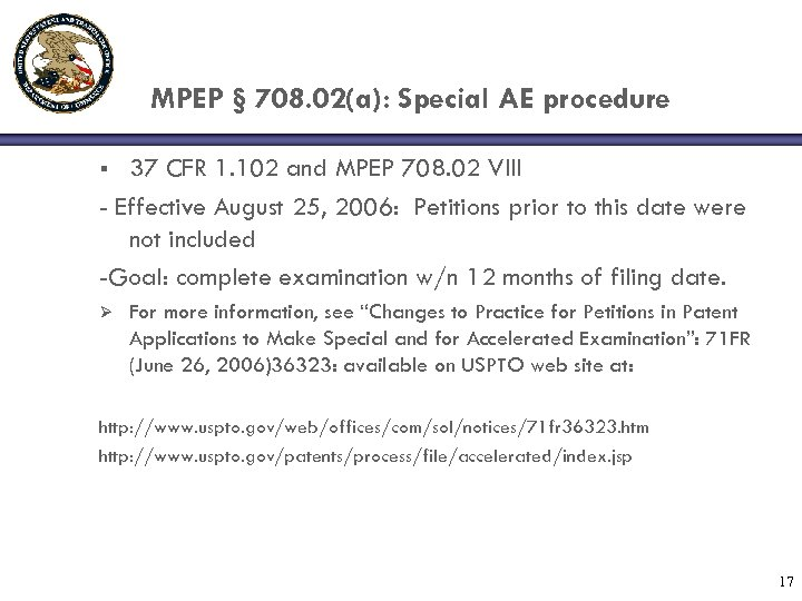 MPEP § 708. 02(a): Special AE procedure 37 CFR 1. 102 and MPEP 708.