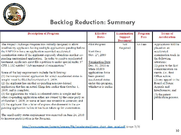 Backlog Reduction: Summary http: //www. uspto. gov/patents/process/file/accelerated/comp_chart_dom_accel. pdf (page 3/5) 30