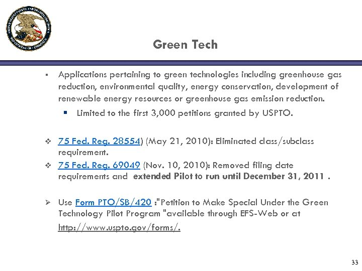 Green Tech § Applications pertaining to green technologies including greenhouse gas reduction, environmental quality,
