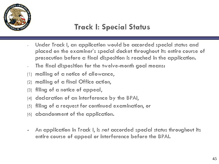 Track I: Special Status - (1) (2) (3) (4) (5) (6) - Under Track