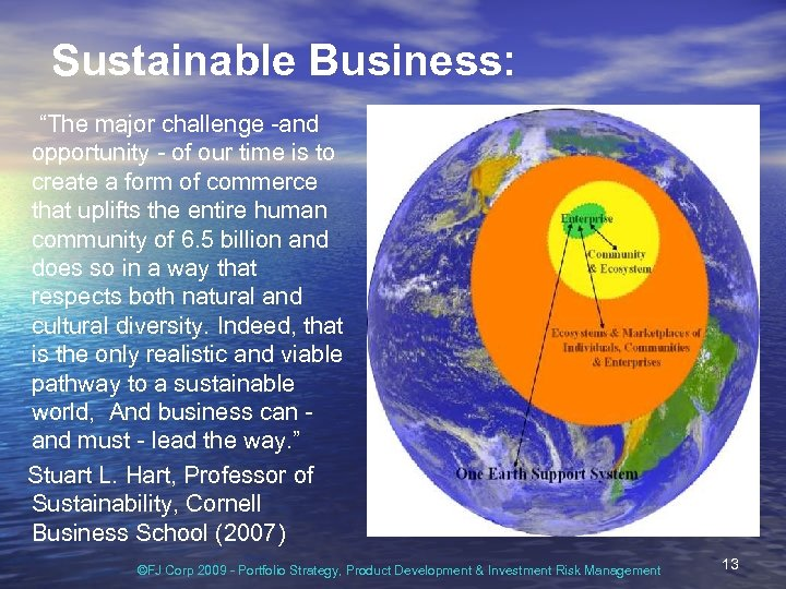 "Sustainable Business: ""The major challenge -and opportunity - of our time is to create"