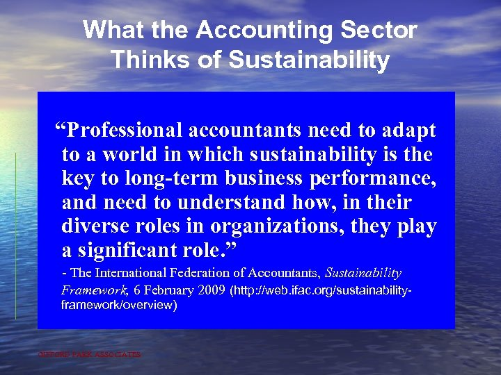 "What the Accounting Sector Thinks of Sustainability ""Professional accountants need to adapt to a"