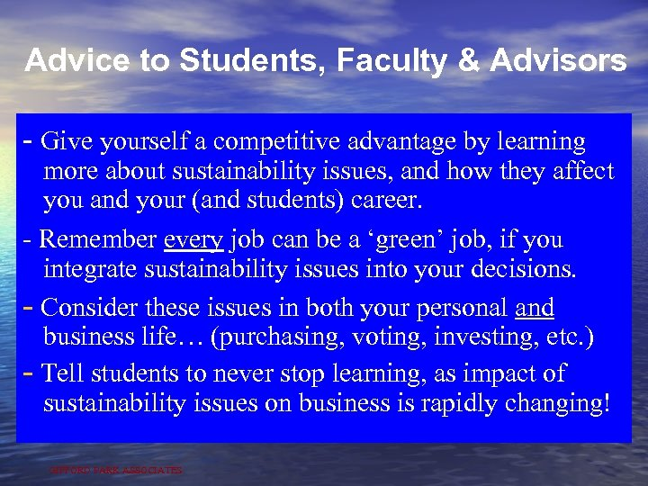 Advice to Students, Faculty & Advisors - Give yourself a competitive advantage by learning