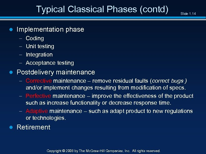 Typical Classical Phases (contd) Slide 1. 14 ● Implementation phase – – Coding Unit