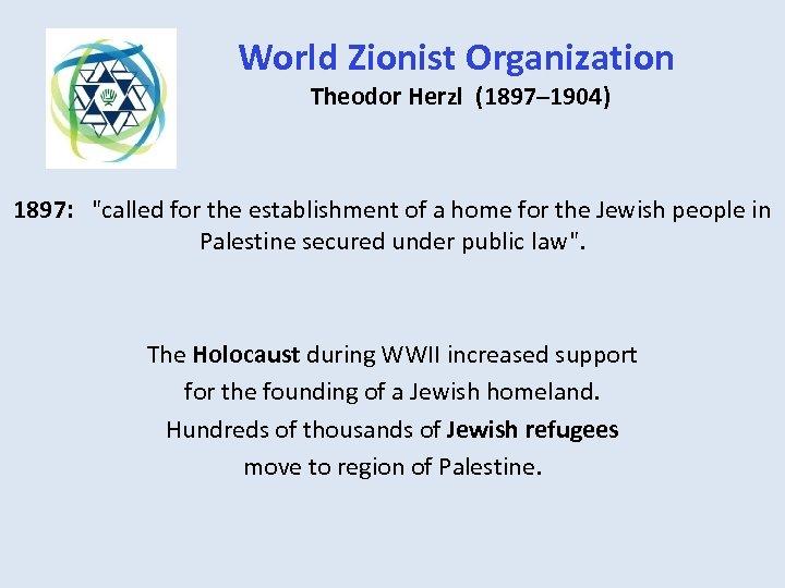 World Zionist Organization Theodor Herzl (1897– 1904) 1897: