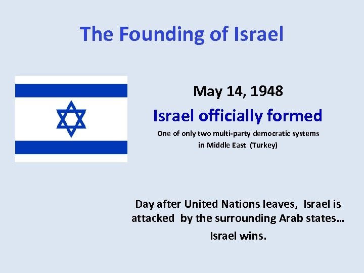 The Founding of Israel May 14, 1948 Israel officially formed One of only two
