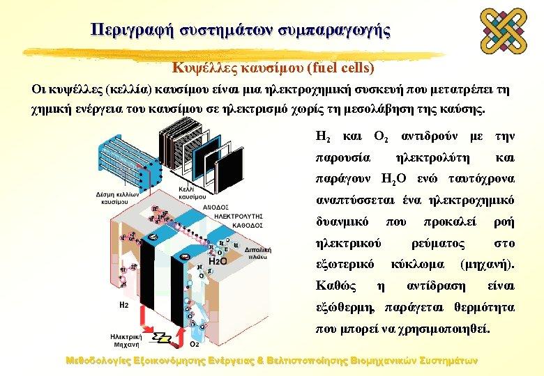 Περιγραφή συστημάτων συμπαραγωγής Κυψέλλες καυσίμου (fuel cells) Οι κυψέλλες (κελλία) καυσίμου είναι μια ηλεκτροχημική