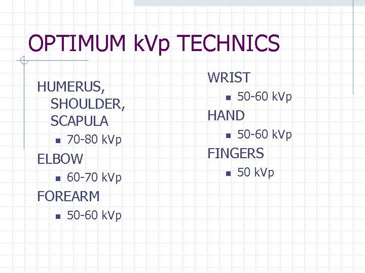 OPTIMUM k. Vp TECHNICS HUMERUS, SHOULDER, SCAPULA n 70 -80 k. Vp ELBOW n