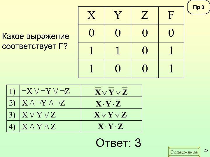 X 1) 2) 3) 4) Z F 0 0 1 1 Какое выражение соответствует