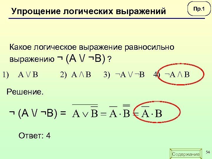 Пр. 1 Упрощение логических выражений Какое логическое выражение равносильно выражению ¬ (А / ¬B)
