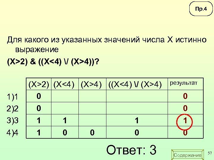 Пр. 4 Для какого из указанных значений числа X истинно выражение (X>2) & ((X<4)