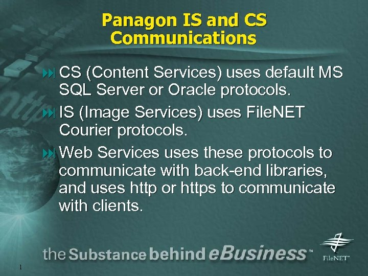 Panagon IS and CS Communications : CS (Content Services) uses default MS SQL Server
