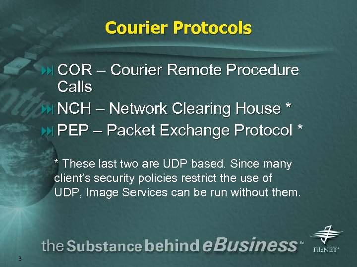 Courier Protocols : COR – Courier Remote Procedure Calls : NCH – Network Clearing
