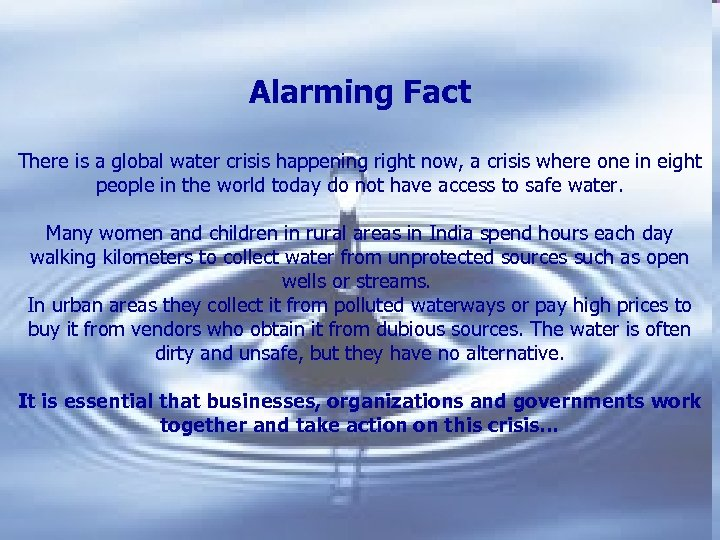 A drop of water Alarming Fact There is a global water crisis happening right