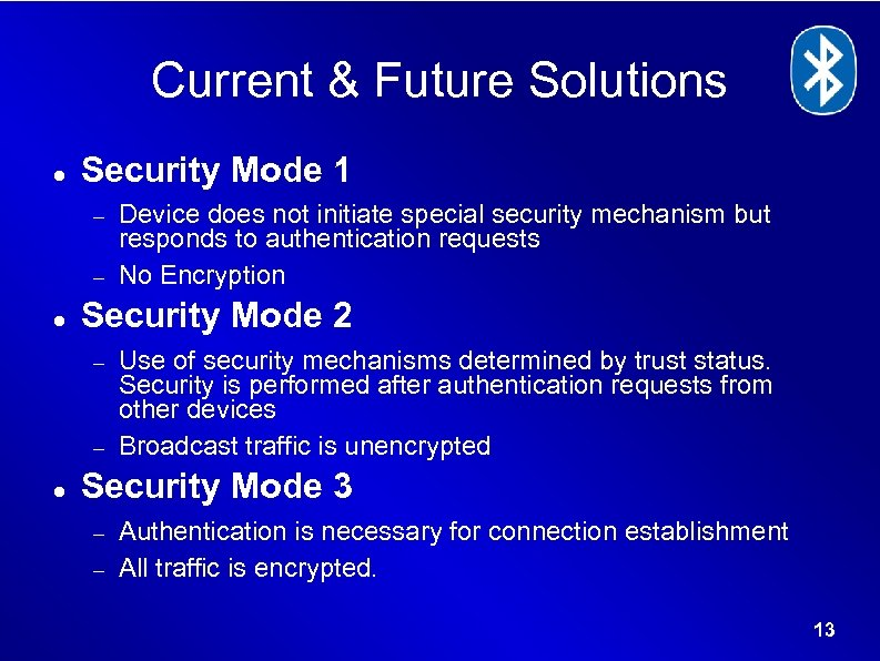 Current & Future Solutions Security Mode 1 Security Mode 2 Device does not initiate