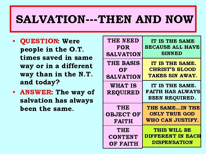 SALVATION---THEN AND NOW • QUESTION: Were people in the O. T. times saved in