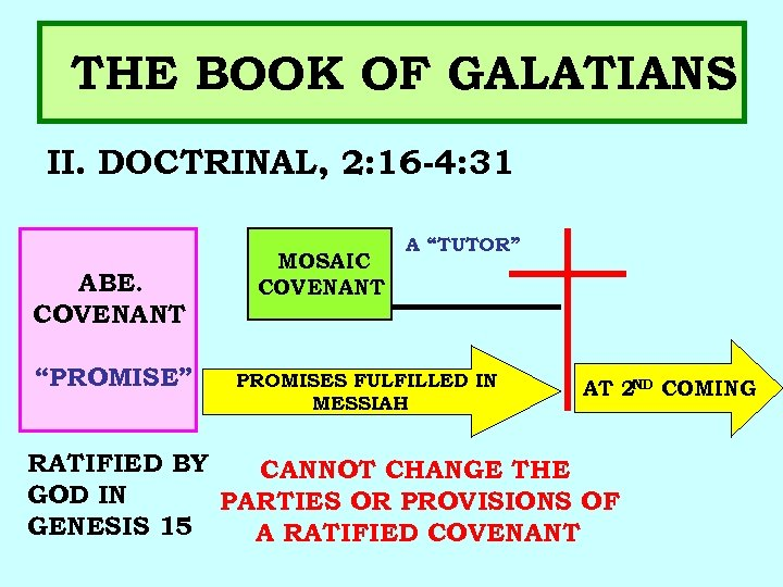 """THE BOOK OF GALATIANS II. DOCTRINAL, 2: 16 -4: 31 ABE. COVENANT """"PROMISE"""" MOSAIC"""